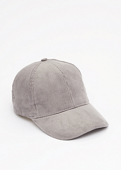 Gray Curdoroy Baseball Hat
