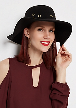 Black Grommet Crown Floppy Hat