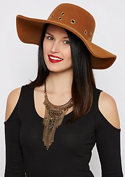 Brown Grommet Crown Floppy Hat