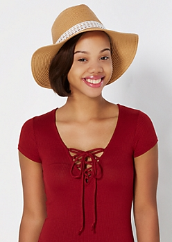 Tan Crochet Trim Panama Hat