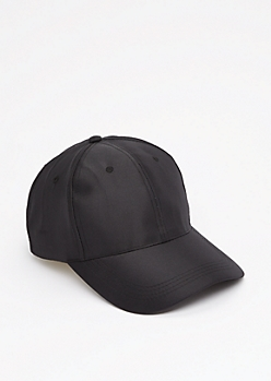Black Satin Baseball Hat