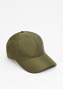 Olive Satin Baseball Hat