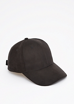 Black Mock Suede Baseball Hat