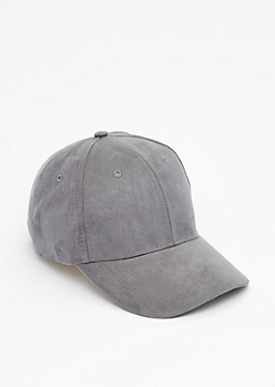 Gray Mock Suede Baseball Hat