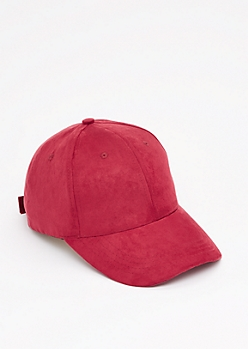Burgundy Mock Suede Baseball Hat