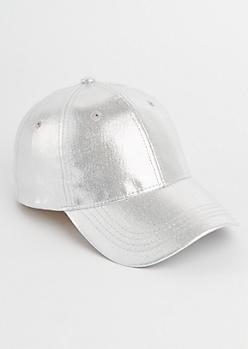 Silver Metallic Dad Hat