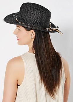 Black Straw Bow Cowboy Hat