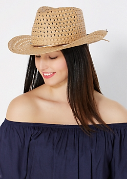 Tan Straw Bow Cowboy Hat