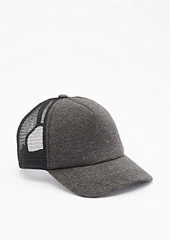 Black Marled Baseball Hat