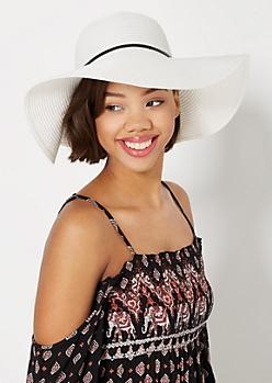 White Bow Tie Straw Floppy Hat
