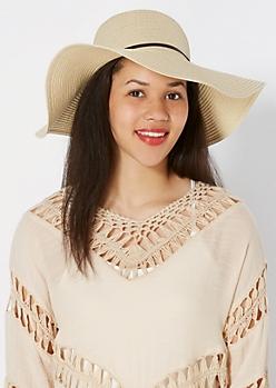 Ivory Bow Tie Straw Floppy Hat
