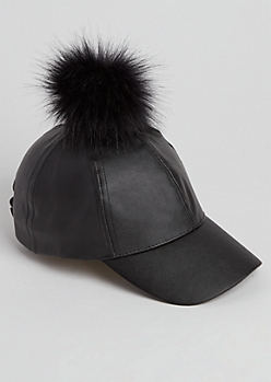 Faux Leather Pom Dad Hat