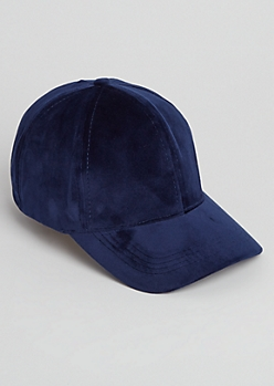 Navy Velvet Dad Hat