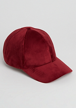 Burgundy Velvet Dad Hat