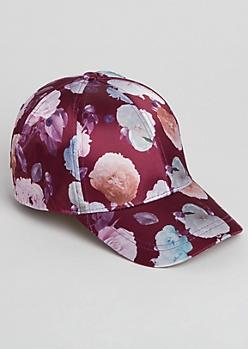 Burgundy Floral Satin Dad Hat