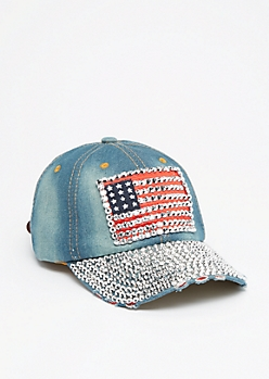 Studded Americana Denim Baseball Hat