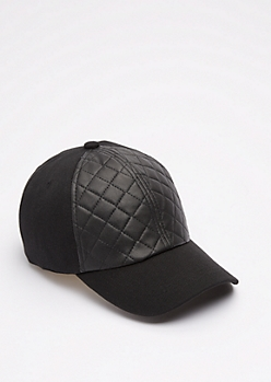 Black Quilted Baseball Hat