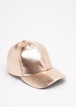 Rose Copper Metallic Baseball Hat