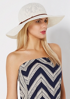 Ivory Knit Floppy Hat