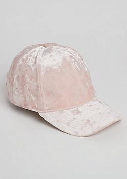 Pink Velour Dad Hat