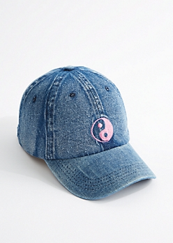 Pink Yin-Yang Denim Dad Hat