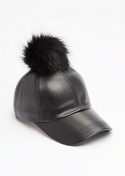 Black Pom Baseball Hat