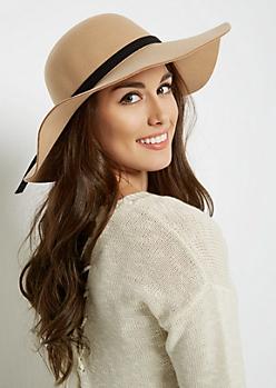 Camel Felt Floppy Hat