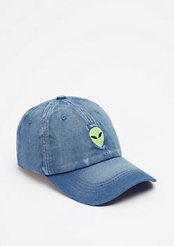 Denim Alien Baseball Hat