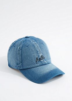 Denim Hello Baseball Hat