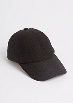 Black Quilted Knit Dad Hat