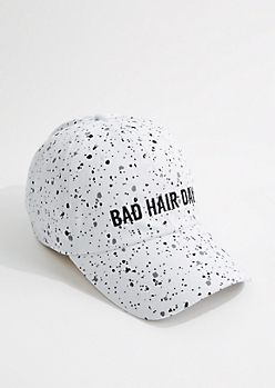 White Speckled Bad Hair Day Baseball Hat