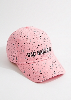 Pink Speckled Bad Hair Day Baseball Hat