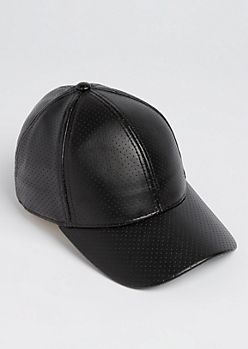 Black Perforated Faux Leather Dad Hat