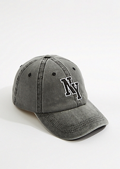 Black NY Washed Twill Dad Hat