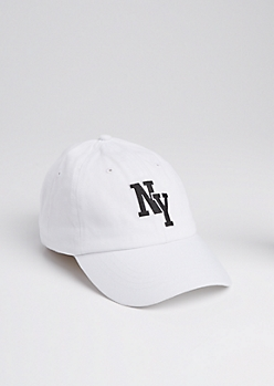 White NY Washed Twill Dad Hat