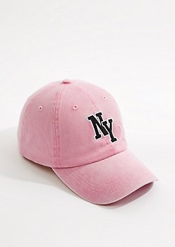 Pink NY Washed Twill Dad Hat