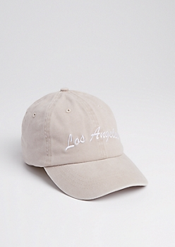 Taupe Los Angeles Vintage Washed Dad Hat