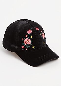 Rose Embroidered Velvet Dad Hat