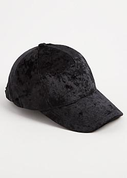 Black Crushed Velvet Dad Hat