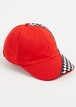 Red Checkered Split Dad Hat