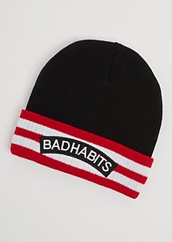 Bad Habits Striped Beanie