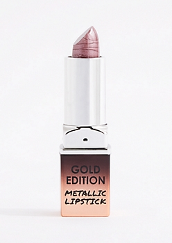 Dark Pink Metallic Lipstick Gold Edition
