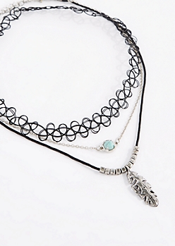 Boho Feather & Turquoise Choker Set