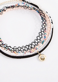 Crystal Studded Locket Choker Set