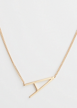 Gold A Initial Necklace