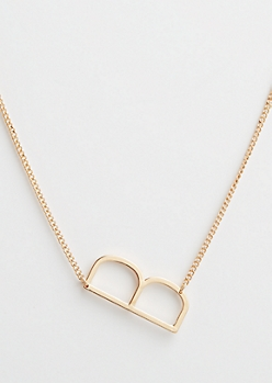 Gold B Initial Necklace