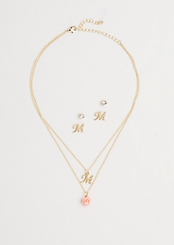 Rosy Initial M Jewelry Set