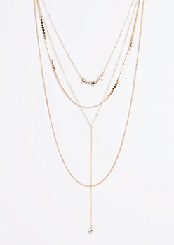 Stone Drop Tiered Necklace