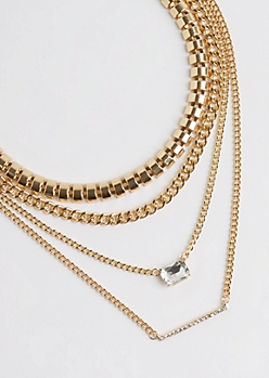 4-Pack Gold Metallic Chain Necklace Set