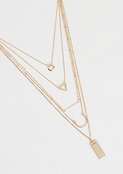 Gold Metallic Geometric Layered Necklace